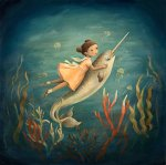 Dream Animals Narwhal Girl Print