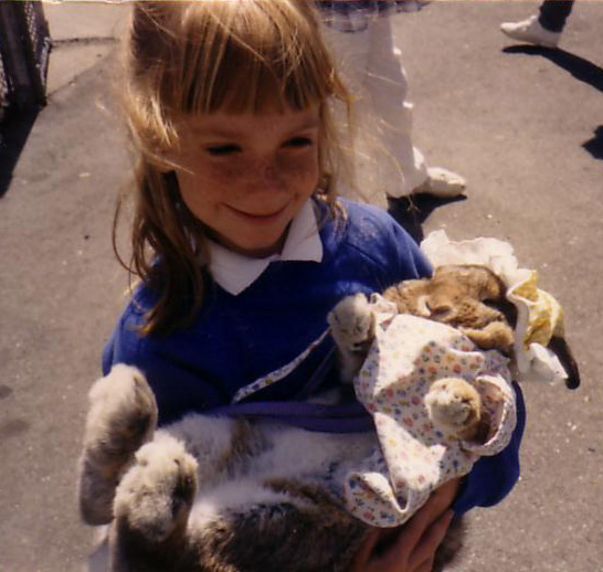 Erin with dressed up rabbit amanda